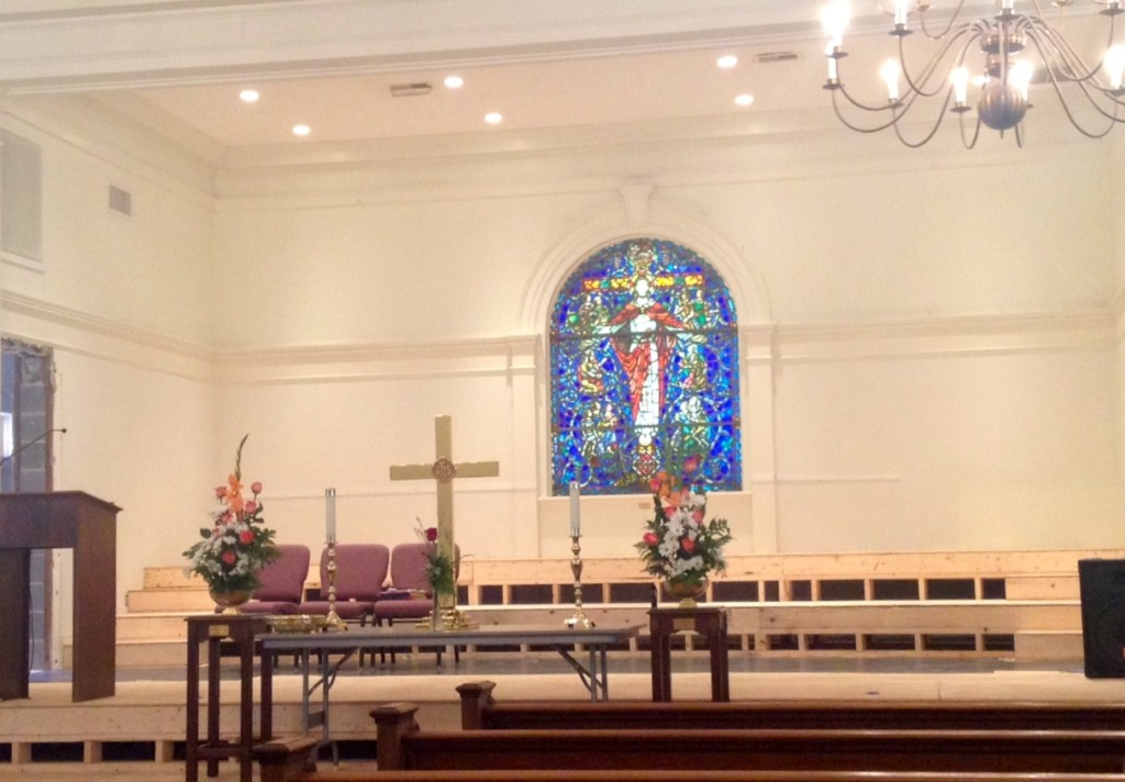 Inside the Bluffton United Methodist Church (undergoing an expansion)